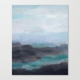Mint Navy Blue Green Abstract Wall Art, Painting Art, Ocean Painting Print, Blue Water Canvas Print