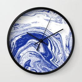 Marble blue 3 Suminagashi watercolor pattern art pisces water wave ocean minimal design Wall Clock