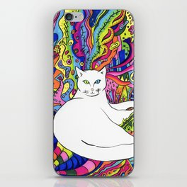 Psychedelic White Cat iPhone Skin
