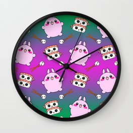 Cute funny Kawaii chibi little pink baby bunnies, happy sweet cheerful sushi with shrimp on top, rice balls and chopsticks colorful green and purple pattern design. Wall Clock