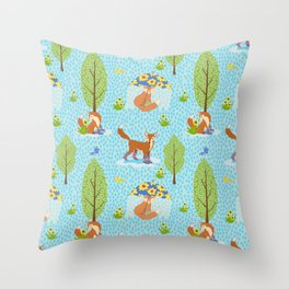 Foxes in Galoshes Throw Pillow