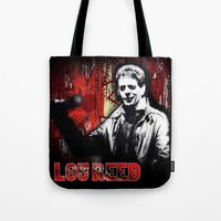 lou reed Tote Bags featuring Lou by Alan Hogan