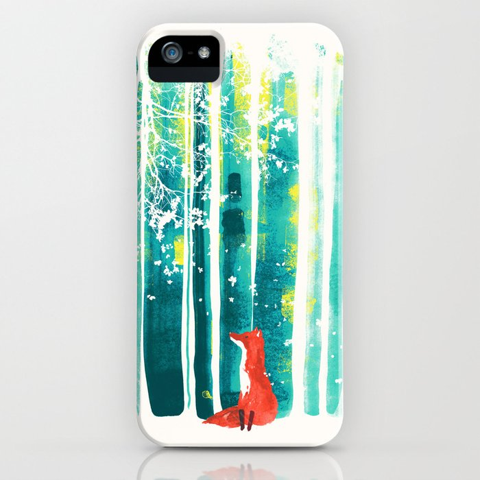 fox in quiet forest iphone case