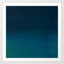 Navy blue teal hand painted watercolor paint ombre Art Print