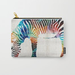 Colorful Zebra Art by Sharon Cummings Carry-All Pouch