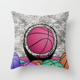 Colorful Basketballs Urban Grunge Hoop Throw Pillow