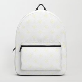 Cream Yellow on White Snowflakes Backpack