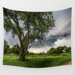 Big Tree - Tall Cottonwood and Passing Storm in Texas Wall Tapestry