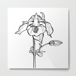 Garden Flower Ink Drawing  Metal Print