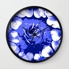 Roses Blue and White Toil #1 Wall Clock