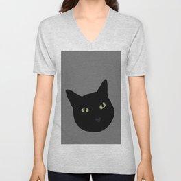 can I pet your cat? no. black cat portrait Unisex V-Neck