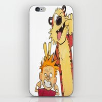 hobbes iPhone & iPod Skins featuring Calin and Hobbes by Frank Deuce