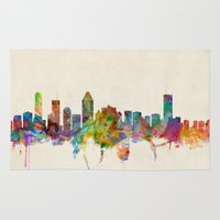 montreal Area & Throw Rugs featuring Montreal Canada Skyline by artPause