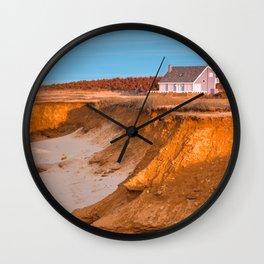 Thunder Cove Beach Cliffs - Golden Pastel Hour Wall Clock