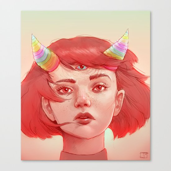 Red girl with horns Canvas Print
