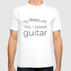 I speak guitar SMALL Mens Fitted Tee White