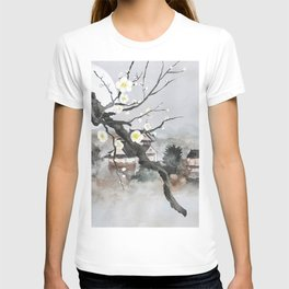 Moon flower and ancient Japanese castle T-shirt