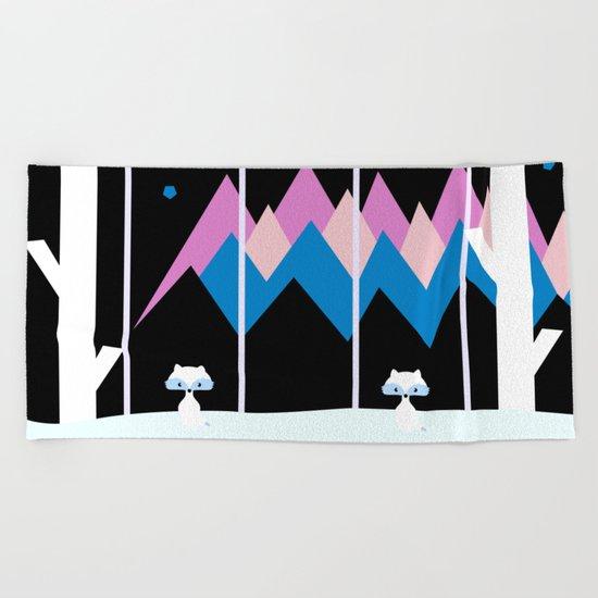 Colorful night Beach Towel