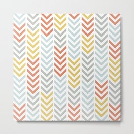 SouthWestern Chevron Arrow Line Art Stripes in Muted Colors Blue Orange Yellow and Gray Metal Print