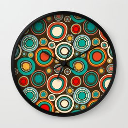 Vintage abstract seamless pattern with round shapes Wall Clock