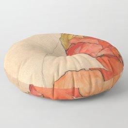 "Egon Schiele ""Kneeling Female in Orange-Red Dress"" Floor Pillow"