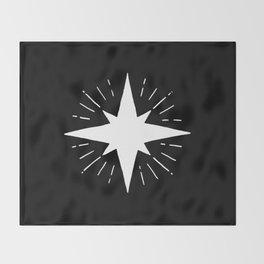 White North Star Shining Throw Blanket