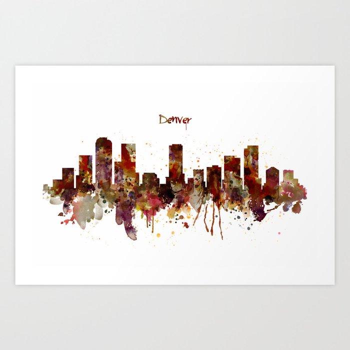 Denver Skyline Silhouette Art Print