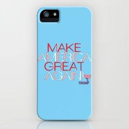 Make America Great Again w/ Trump Trumpet & Flag logo. iPhone Case