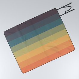 Colorful Retro Striped Rainbow Picnic Blanket