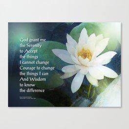 Serenity Prayer Lotus One Canvas Print