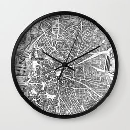 Vintage Map of Madrid Spain (1656) BW Wall Clock