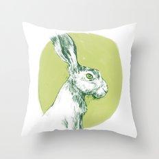 Green Hare Throw Pillow