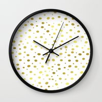 gold dots Wall Clocks featuring Gold Dots by Laura Maria Designs