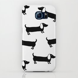 Cute dachshunds in black and white iPhone Case