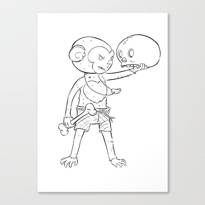 Monkey Pirate - ink Canvas Print