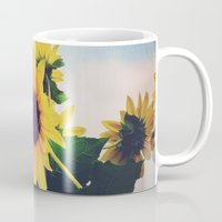 sunflower Mugs featuring sunflower by Sylvia Cook Photography