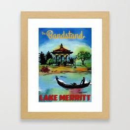 painting of Lake Merritt Bandstand, Oakland California Framed Art Print