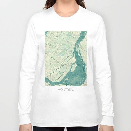 Montreal Map Blue Vintage Long Sleeve T-shirt