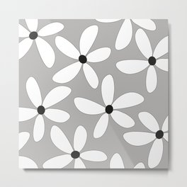 Happy flowers Gray Metal Print