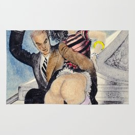 Vintage Nude hand colored female male spanking butt bum Rug