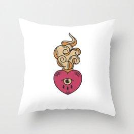Anti Valentines Day Cupid Love - Still Single - Retro Vintage Art Tattoo Design Throw Pillow