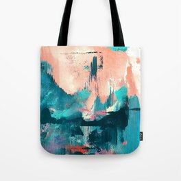 Sugar: a fun, minimal mixed-media abstract piece in pinks and blues Tote Bag