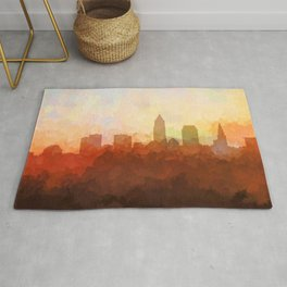 Cleveland, Ohio Skyline - In the Clouds Rug