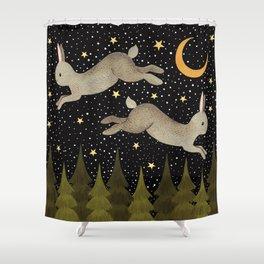 midnight hare Shower Curtain