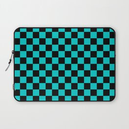 Black and Cyan Checkerboard Laptop Sleeve