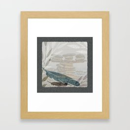 Zen Stacked Rocks on Beach Graphic Feathers and Branches Framed Art Print