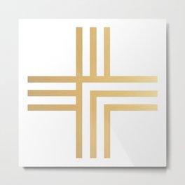 Geometric Swiss Cross (gold) Metal Print