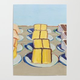"Classical Masterpiece ""Cake Rows"" by Wayne Thiebaud,1920 Poster"