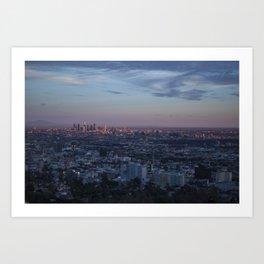 LA Skyline at Sunset Art Print