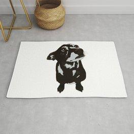Dachshund black and white dog Rug